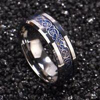 8/6mm Tungsten Carbide Ring Silver Celtic Dragon Blue carbon fibre Mens Jewelry