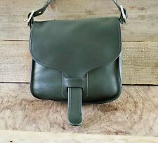 Vintage COACH 70's NYC Courier Pouch Leather Saddle Bag Green 8920 Pre-Serial