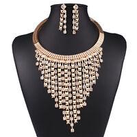 Eur Trendy Gold Tone Chain Shiny Crystal Rhinestone Choker Collar Bib Necklace
