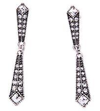 GEOMETRIC TRIANGLE Crystal Rhinestone Silver Art Deco Chandelier Drop Earrings