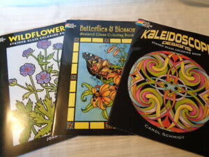LOT OF 3 DOVER STAINED GLASS COLORING BOOKS - NEW