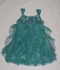 EUC Biscotti Girls Teal Blue/Green Cascade Waterfall Tulle Ruffle Dress Size 4