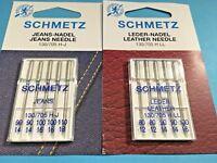 Nähmaschinen Nadeln Schmetz Nadeln -LEDER JEANS Set 80-110 Flachkolben Nadeln