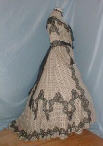 Antique Dress Victorian 1890's White and Black Cotton  Chantilly Lace Trim