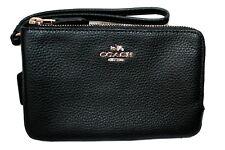 Coach Double Zip Leather Wristlet Wallet Clutch F87590 Coach Linen Dust Bag NWT