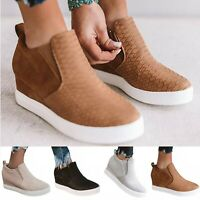 Womens Platform Zip Hidden Wedge High Heel Loafers Sneakers Slip On Shoes Zip Up