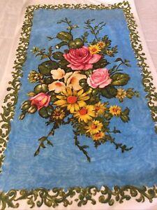 Fabulous Vintage 1970's Floral Terry Backed Velour Towel 65 x 110 Caravan Chic