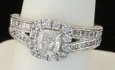 14k White Gold Diamond Cushion Cut Neil Lane Wedding Engagement Ring Size 6.75