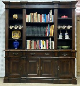 Antique Style Country French Solid Wood Bookcase or China Cabinet Brass Handles
