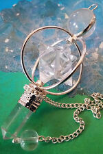 STUNNING QUARTZ CRYSTAL SPINNING MERKABA DOWSING PENDULUM WITH POINT AND POUCH