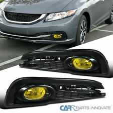 Fit 13-15 Honda Civic 4-Door Sedan Amber Bumper Fog Lights Lamps w/ Switch+Bezel
