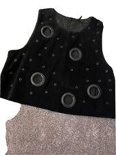 Ladies size 12 black suede vest top tunic boho festival style TOPSHOP
