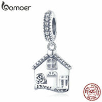 BAMOER Solid 925 sterling silver Dangle charm happy Family with CZ Fit bracelet