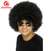 Funky Afro Kinky Curly Wigs Costume Party Wigs Hippie Wigs for Men Women Black