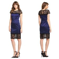 V by Very Plus Size 24 Navy Black Lace Trim DRESS Occasion Evening Party £87 Fab