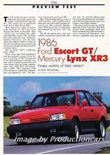 1986 Ford Escort GT Mercury Lynx XR3 Car Review Report Print Article J776