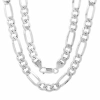 Sterling Silver Necklace FIGARO Chain Solid 925 Italy 7mm New Wholesale Prices