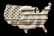 3d Model Stl For Cnc Router Artcam Aspire God Bless Usa Flag America Map D244