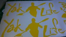 2 YAK YELLOW LIFE VINYL  STICKER  KAYAK    SUMMER SALE 2 FOR $ 4.99