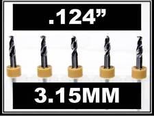 """.124"""" - 3.15mm - 1/8"""" Shank Carbide Drill Bits FIVE Pcs Wood Plastic Metal cnc R"""