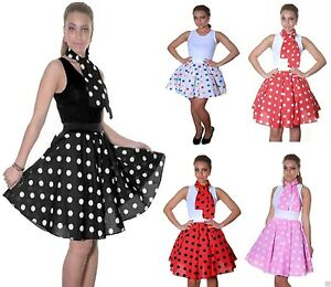 LADIES WOMENS ROCK & ROLL POLKA DOT SKIRT 50s FANCY DRESS HEN NIGHT PARTY OUTFIT