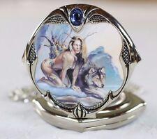Boris Vallejo/Julie Bell Franklin Mint Pocket Watch Sexy Fantasy Girl Wolf March