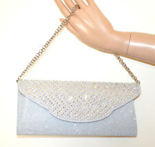 BOLSO pochette PLATA cristales mujer elegante bolsa strass silver clutch bag G56