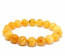 Baltic Amber Adult Stretch Egg Yolk Unique Genuine Round Beads 12.5 g Bracelet