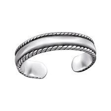Tjs 925 Sterling Silver Toe Ring Plain Band Rope Design Adjustable Oxidised