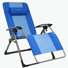 Kamp-Rite Outdoor Camping Beach Patio Oversized Anti Gravity Folding Chair, Blue