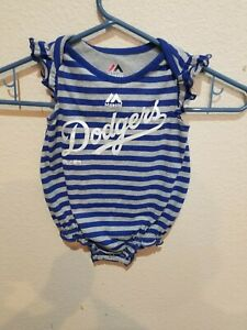 Los Angeles Dodgers Baby Striped One-Piece Girl Bodysuit Romper Size 0-3 Months