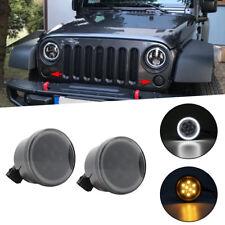 LED White Halo Turn Signal Parking Side Marker Light DRL For Jeep Wrangler JK