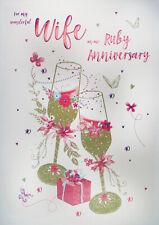 Wife Ruby 40th Wedding Anniversary Card
