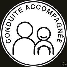 2x Disque Autocollant sticker - CONDUITE ACCOMPAGNEE permis 10cm ROND lot de2