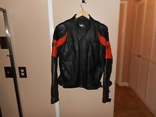 Harley Davidson Stratos Black & Orange Leather Motorcycle Jacket Large Mint