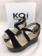 Koi Couture Vegan Suede Cross Strap Platform Sandals 6 US / 4 UK