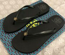 New Size US 9 TORY BURCH Flat Thin Flip Flops Classic Black Thongs Free Shipping
