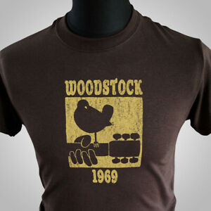 Woodstock 1969 Retro T Shirt Festival Cool Vintage Music Yellow Brown