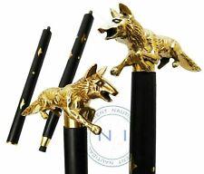 Antique Solid Brass Running Fox Head Handle Designer Wooden Walking Stick Cane