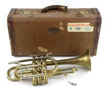 Vintage Buescher Aristocrat Brass Trumpet #109488 C22g Instrument Case for Parts
