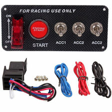 Racing Car 12V 20A LED Toggle Ignition Switch Panel Engine Start Push Button Red