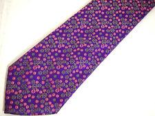 """Thomas Pink Mens Necktie Tie Purple Pink Green Floral Silk 60"""""""