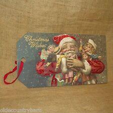 "Christmas Wishes Vintage Santa Wood Hang Tag 11"" x 20"" Primitives by Kathy"