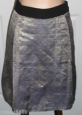 NARCISO RODRIGUEZ Women's Blue w/Gold Metallic Lined Skirt 4 NWTGS! $68!