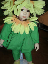 SUNFLOWER GIRL PORCELAIN DOLL BY SEYMOUR MANN 11 INCHES