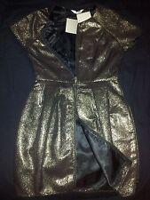 Shilla II Gold Foil, Jacquard, Two Way Zip Up Front, Tulip, Cap Sleeve Dress