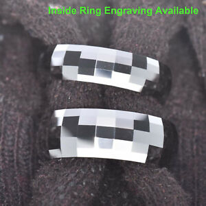 White Tungsten Carbide Multi Faceted Dome Top Men Women Wedding Band Ring 6/8MM
