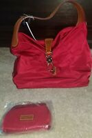 New Dooney & Bourke Nylon Hobo with Logo Lock & Accessories in Tomato