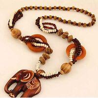 Boho Jewelry Necklace Wood Elephant Pendant Hand Made Bead Ethnic Style Long