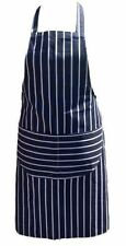 Chefs Apron Professional Quality Blue and White Double Pockets 100